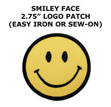 Smiley face retro boho hippie 70s embroidered applique iron-on patch S-716