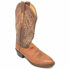 Men's Lucchese 2000 Western Boots Shoes Size 8.5 D Brown Smooth Ostrich AG14