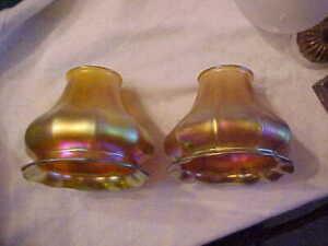 2 Similar STEUBEN Gold Aurene Art Glass Lamp Shades 2-1/4 Fitters