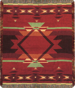 Flame ~ Southwestern Tapestry Chenille Afghan Throw