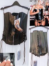 New Rock Biker Black Leather Lace Up & Zip Corset Large 36c -38 b Allure Leather
