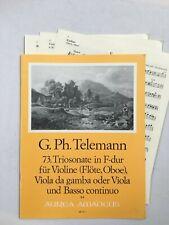 Noten. Telemann. 73. Triosonate in F-dur.   Partitur und Stimmen.