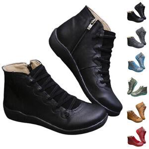 Womens Low Flat Wedge Heel Booties Zip Up Winter Ankle Boots Ladies Work Shoes