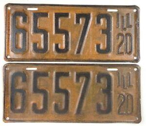 Vintage Illinois 1920 License Plate Pair Antique Car Set Man Cave Collector Gift