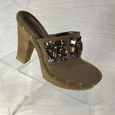 Kathy Van Zeeland Candy beige suede sequined beaded clogs mules  shoes 7.5 M