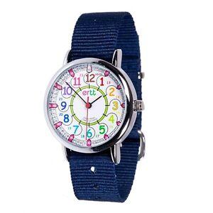 EasyRead Time Teacher Rainbow Face 24 Hour Watch - Navy Strap (ERW-COL-24-NB)