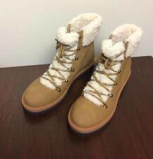 NWOT Tommy Hilfiger Womens Ron 2 Leather Faux Fur Combat Boots Tan Sz 8.5