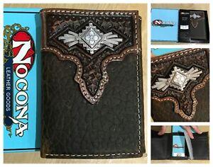 New Nocona mens basketweave concho tri fold wallet