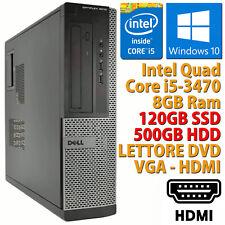 PC COMPUTER FISSO DESKTOP RICONDIZIONATO DELL 3010 CORE i5 8GB SSD 120GB 500GB