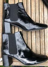 M&S BLACK PATENT LEATHER CHELSEA BOOTS, BLOCK HEEL UK 8 BNWT