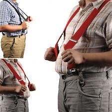 Rosso Uomo Vintage Bretelle Elasticizzato Regolabile Stile Largo con clip