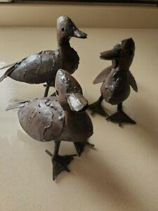 3 Pieces Metal Duck Sculptures  - Made in Zimbabwe - Very Unique!