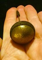 """Antique Hatpin Fur Stick  Pin Hat Pin Hammered Gold with Fabric Screw Base 2.8"""""""