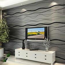10M Modern 3D Non-woven Wallpaper Curve Stripe Bedroom TV Wall Decoration Roll