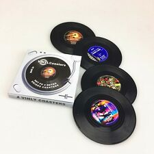 4pcs Spinning Vintage Vinyl Record Drinks Coasters Cup Holder Mat Tableware