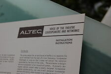 Altec Voice of the Theatre / VOTT A7 etc. Installation Instructions