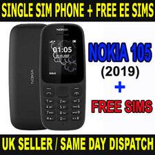 Nokia 105 Entsperrt (2019 Edition) Single SIM Handy Schwarz Mit Kostenlos EE Sim Karten