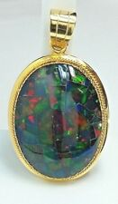 in 14k yellow Gold Multi Color Opal Mosaic Pendant