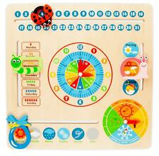 Wooden Calendar Clock Childrens Educational Learning Toy Teach Kids Time & Dates