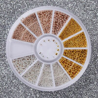 3D Micro Bead Nail Art Rhinestones Caviar Tips Decoration Manicure DIY Wheel Set