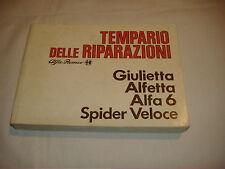 Libretto tempario delle riparazioni Alfa Romeo Giulietta Alfetta Alfa6 Spider v.