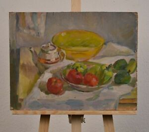 Still life with vegetables, vintage oil painting,  impressionism