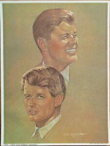 JFK & RFK John & Robert F. Kennedy 1968 Sanger/Artist-Signed Print - 6x8