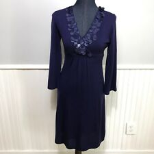 Boden Dress Blue Paillette Crossover Sequin Wool Empire Waist Lined Sz 4 WH405