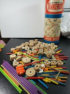 Vintage 1960's Tinker Toys Wood And Plastic 200+ Pieces And Cardboard Tube #155