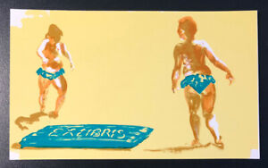 Eric Fischl Lithograph, Ex Libris Bookplate, 1992, Nudes on the Beach, Unused