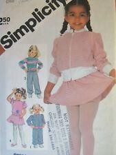 VTG 82 SIMPLICITY 5775 Tdlrs/Girls Jacket Top Pants Skirt & Panties PATTERN 3-4