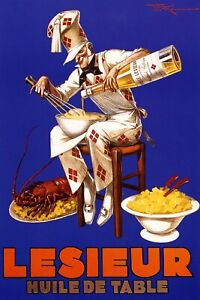Lesieur French Chef Cooking Lobster Food Restaurant Vintage Poster Repro FREE SH