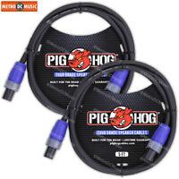 2-Pack Pig Hog Speaker Cable Cord 5ft 14 AWG Neutrik NL2FX Speakon to Speakon