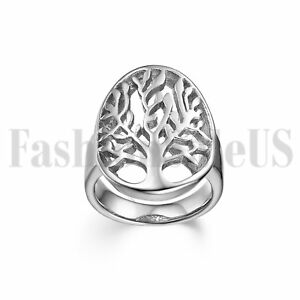 Men Women Stainless Tree of Life Statement Party Promise Wedding Ring Band 5-12