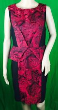 NikiBiki Women's Black Red Pencil Dress Knee Length Polyester Sz Large Pre Owned