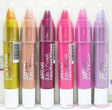 Saffron 3 in 1 Twist up Chunky Lipstick Eye Shadow & Cheek Crayon Stick 03
