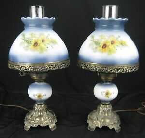 Beautiful Pair of Vtg Hedco Hurricane Lamps Black-Eyed Susans on Milk Glass