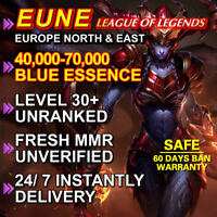 EUNE Level 30 League of Legends LOL account Unranked 40.000 - 70.000 BE Smurf