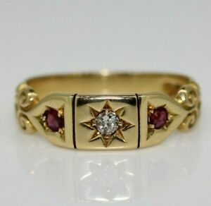 Vintage 18ct Yellow Gold Ruby & Diamond Gypsy Ring Size O, US 7