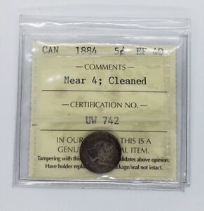Canada 1884 Near 4 Silver 5 Cents Coin ICCS EF-40 Cleaned