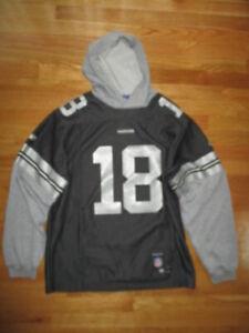 Reebok RANDY MOSS No. 81 OAKLAND RAIDERS (MED) Hooded Sweatshirt Jersey