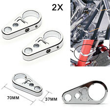 """2x Chrome Brake Clutch CNC Cable Part Clamp Clip For 1"""" 25mm Bar Harley Davidson"""