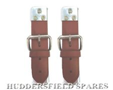 Classic Mini tan/brown leather bonnet straps pair, new