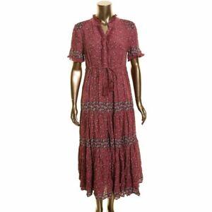FREE PEOPLE NEW Women's Plum Combo Rare Feeling Pleated Maxi Dress S TEDO