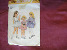 "Vtg Simplicity Pattern 6819 Toddler Dress 1975 Sz T3 Child Girl Breast 22"""