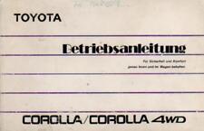 TOYOTA COROLLA 6 4WD E90  Betriebsanleitung 1989 Bedienungsanleitung Handbuch BA