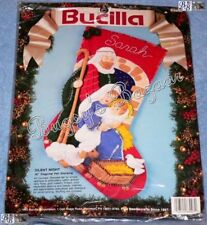 Bucilla SILENT NIGHT Stocking Nativity w Holy Family Felt Christmas Kit - 83007