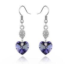 Amazing Amethyst Purple Heart with White Rhinestones Drop Dangle Earrings E535