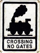 New 15x20cm CROSSING NO GATES railway train vintage enamel style metal road sign