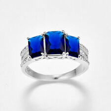 Damen-Ring blendende Filled Sterling Silber 925 mit natur Edelstein Safier Blau